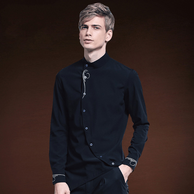 Mens black silk dress shirt