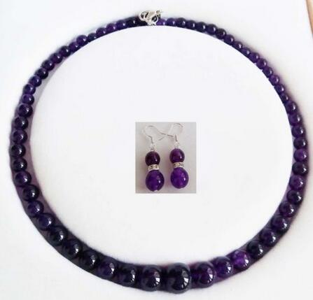 Beautiful 6-14mm Genuine Purple stones Round Necklace Earrings Set 18