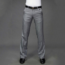 Micro horn trousers Male Business Black Straight wide leg Suit pants British Casual Mens big More size 37