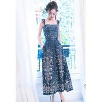 2017 Women Summer Embroidery Denim Sundress Backless Floral Spaghetti Strap Jeans Dress