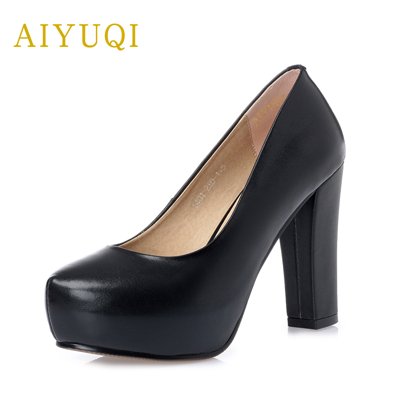 AIYUQI Professional shoes women 2018 new spring women's genuine leather shoes round high heels sexy platform shoes fashion aiyuqi 2018 spring new women s genuine leather shoes waterproof platform sexy plus size 41 42 43 fashion heel shoes female
