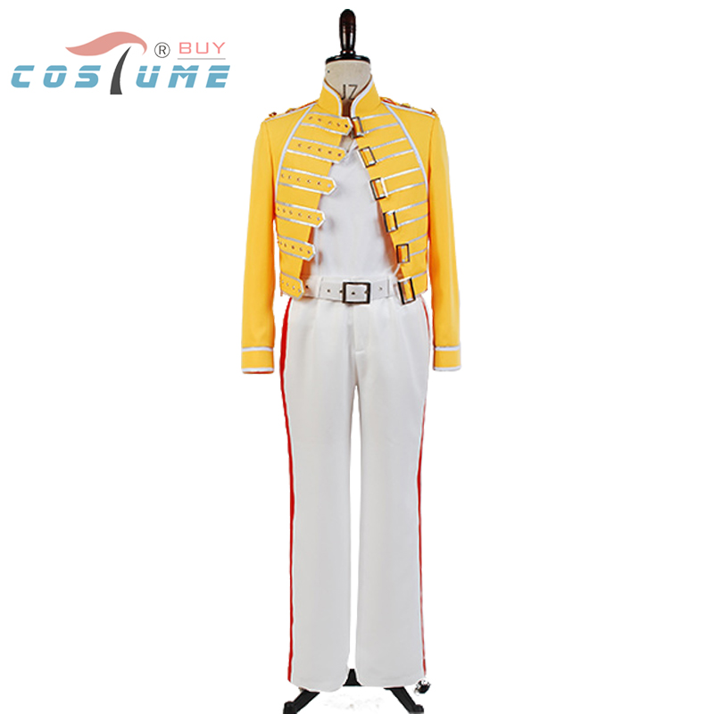 queen lead vocals freddie mercury men yellow jacket coat white pant costume cosplay in movie. Black Bedroom Furniture Sets. Home Design Ideas