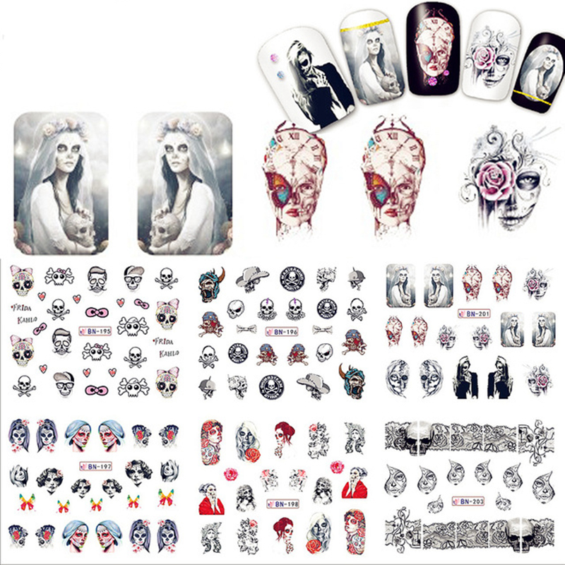 1 Sheet Halloween Nail Art Water Decal Skull Bone Manicure ...