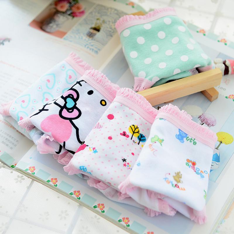 5PCS Kids Girls soft underwear Short Briefs Lace up Cotton Panties children underwear child cute shorts Underpants age 0-10Y 3