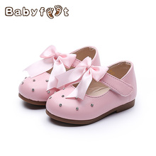 2017 The  New Style Baby Girls First Walkers Non Skid Rubber Sole Breathable Hot Sale Princess Shoes Round Tip Binding Des