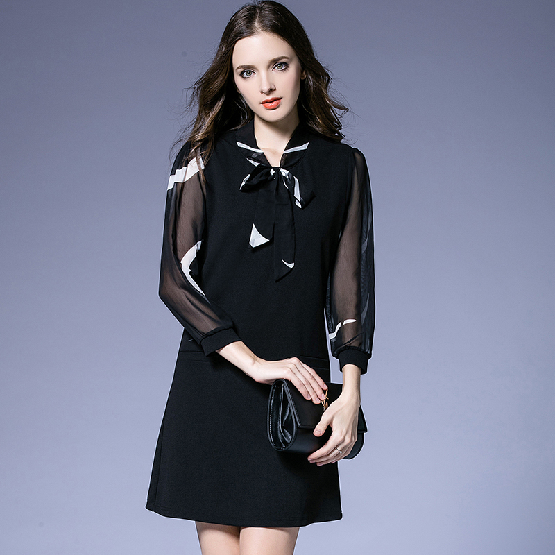Women black bow collar see through Sleeve 1