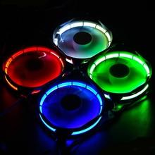 Computer Eclipse  120mm LED Fan  120MM Fan Red  Blue Green Light Guide Ring 2016 Promotion
