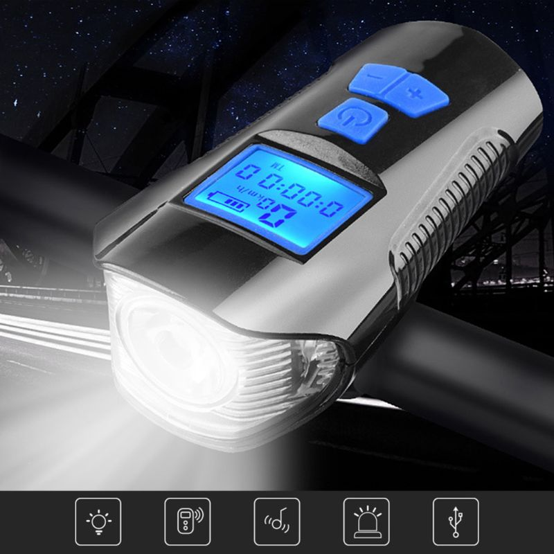 Bicycle Front Light LED USB Rechargeable Bike Torch With Computer Electric Horn Handlebar Headlight For Cycling