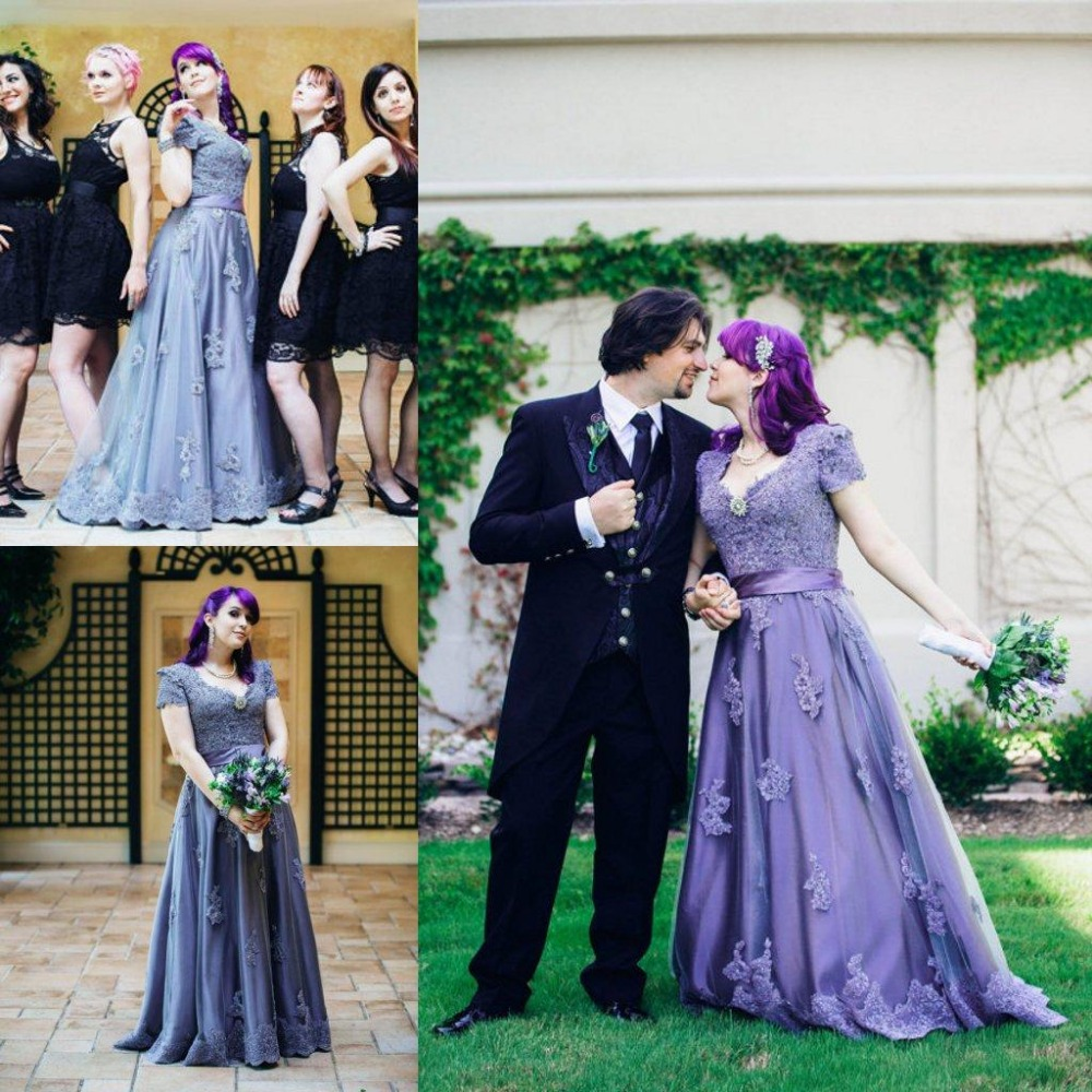 Popular victorian wedding dresses buy cheap victorian wedding - Modest Victorian Lilac Wedding Dresses 2017 Hot Sale Stunning Lace Appliques Gothic V Neck Custom