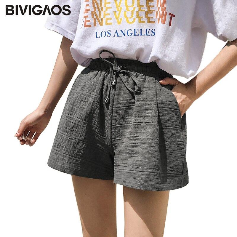 BIVIGAOS 2018 Womens Summer   Shorts   Texture Cotton Linen High Waist Wide Leg   Short   Drawstring Casual Loose A-line   Shorts   Hotpants