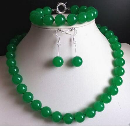 Free shipping Natural Green JadeGem stone Round Beads Necklace Bracelet Earrings AAA+