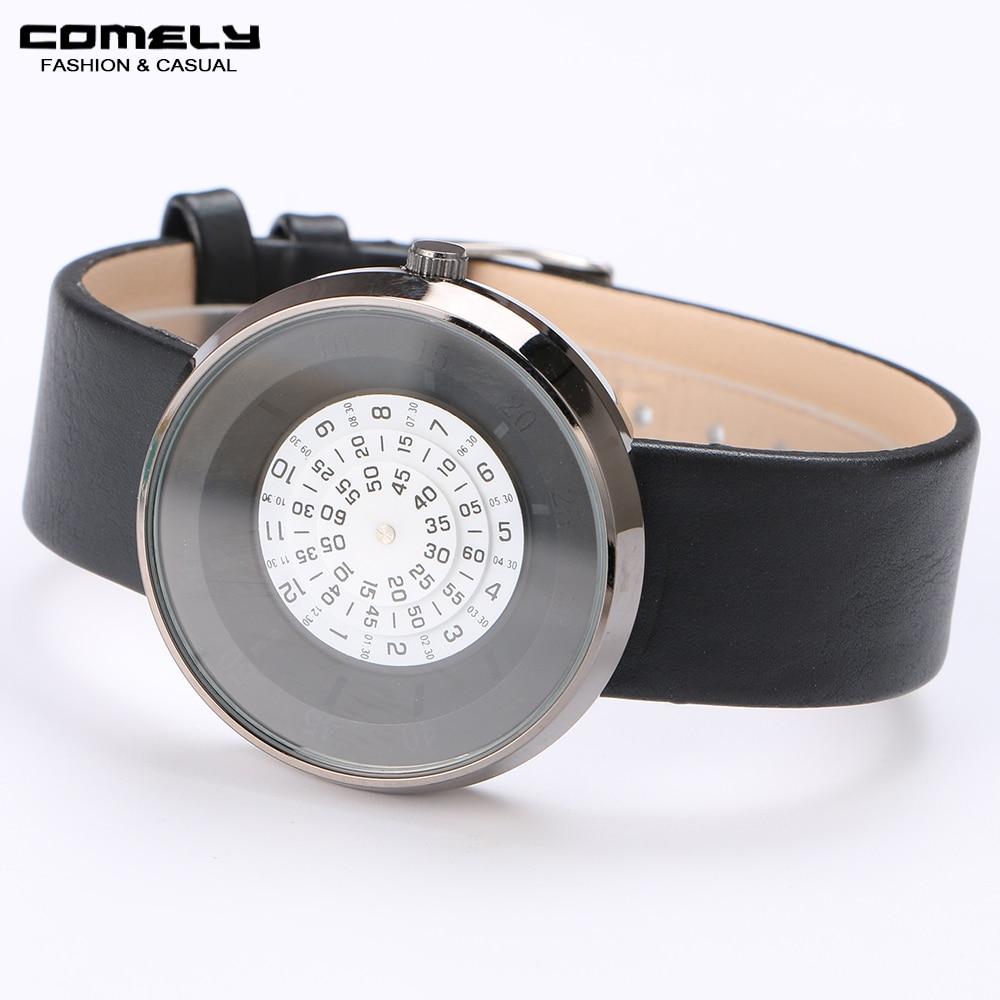 Мода Новый уникальный Для женщин классические часы кожаный ремешок круглой формы Повседневное Спорт на открытом воздухе кварцевые Бизнес ...