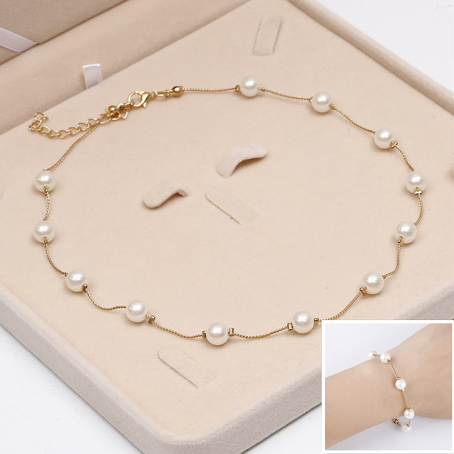 Hesiod Simulated Pearl Jewelry Set Wedding Engagement Chain Charm Bracelets Shor