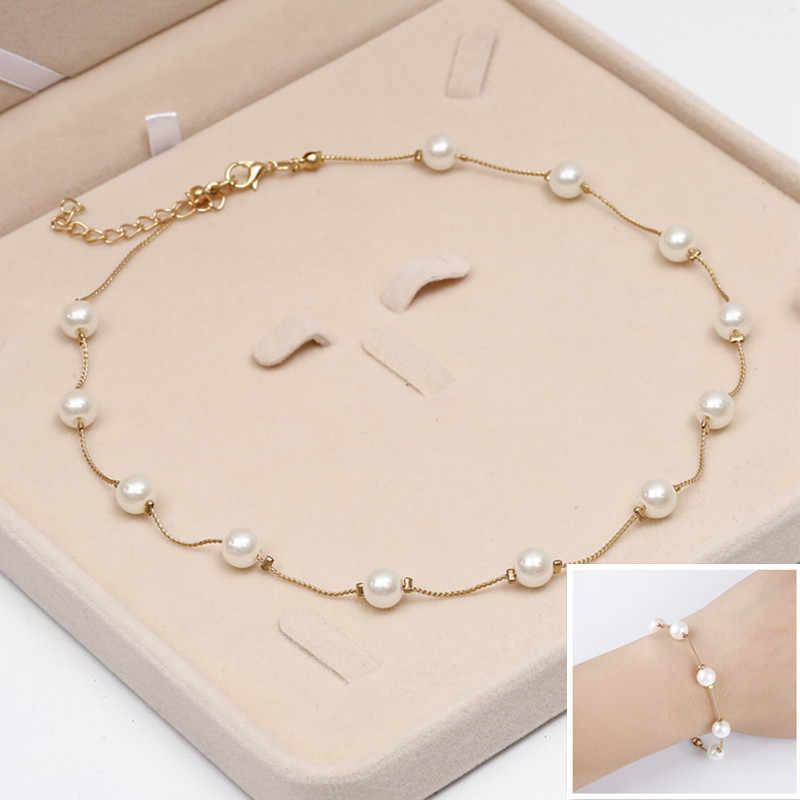 Hesiod Simulated Pearl Jewelry Set Wedding Engagement Chain Charm Bracelets Short Necklace Set Women Beads Party Jewelry Sets