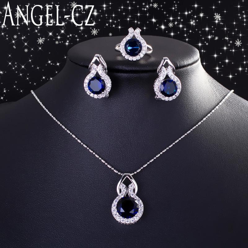 ANGELCZ Elegant Blue Zircon Jewelry Micro Pave Round CZ Stones Silver 925 Ring Earrings And Necklace Set For Women Gift AJ013 women s elegant pendant necklace ring w zircon ornament set golden green