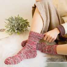 Fashion womens knitting line socks new versatile cotton comfortable warm solid color retro 1 pair