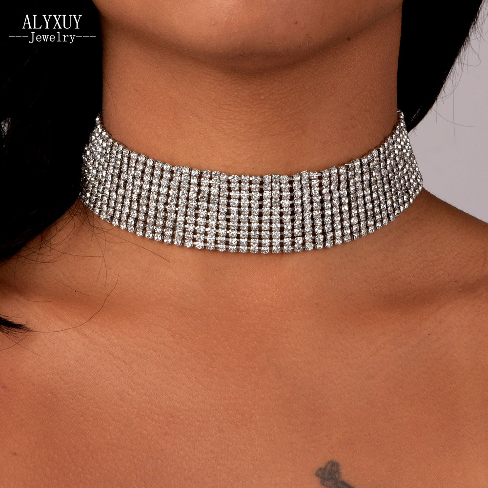 ALYXUY New Fashion Jewelry Shiny Full Crystal Stone Multiple layers Choker Collar Necklace Nice Party Gift for Women Girl N2061