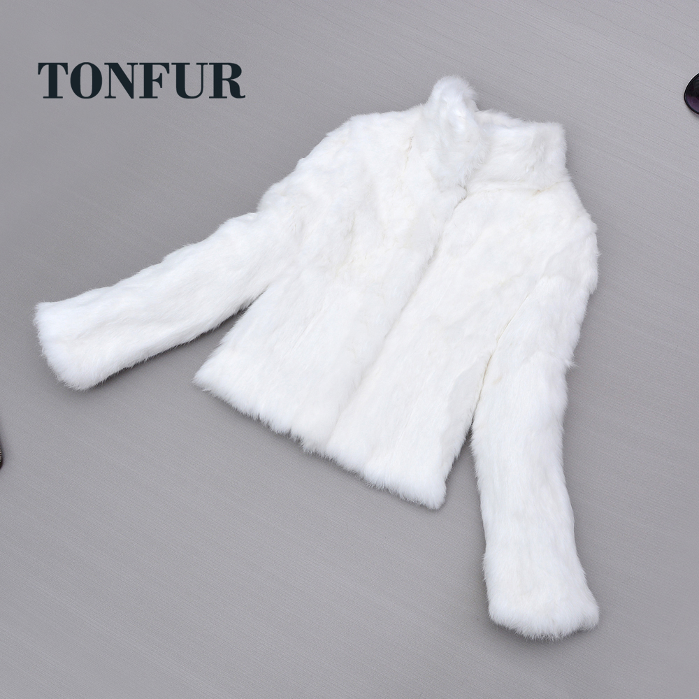 Top Verkauf Frauen Klassische Casual Stehkragen 100% Echte echtem Kaninchen Fell Mantel Handgemachte Anpassen Natürliche Pelz Jacke sr272-in Echtes Fell aus Damenbekleidung bei  Gruppe 1