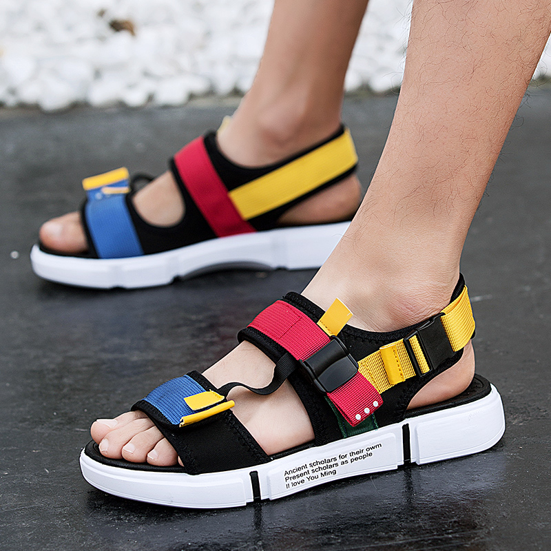 2019 Male Comfort Open-toed Sport Sandals Gladiator Wedge Platform Shoes Outdoor Summer Beach Shoes Tourism Sports Shoe