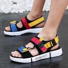 2019 Male Comfort open-toed Sport sandals gladiator wedge Platform shoe
