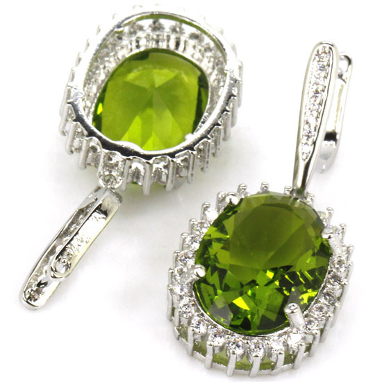 Pretty Green Peridot, branco CZ Criado SheCrown mulher Engagement Brincos de Prata 40x16mm