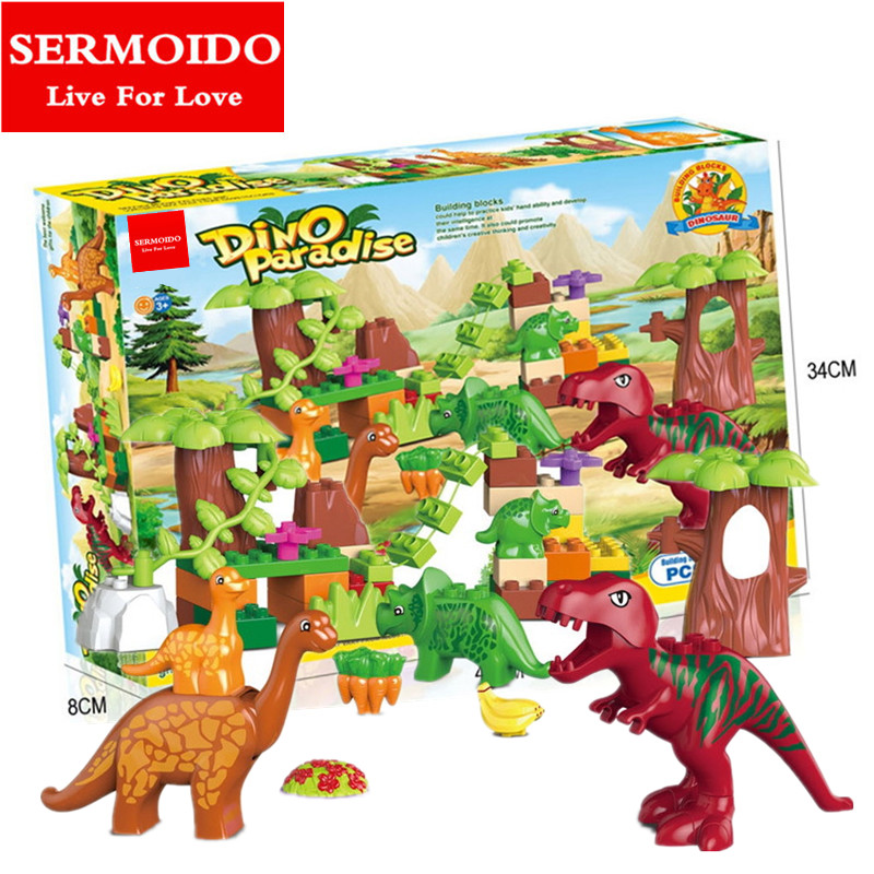 No Box 40Pcs/Lot Dino Valley Building Blocks Sets Large particles Animal Jurassic Dinosaur World Model Toys Bricks Duploe B104 2 sets jurassic world tyrannosaurus building blocks jurrassic dinosaur figures bricks compatible legoinglys zoo toy for kids
