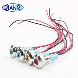 Dot LIGHT Signal-Lamp Green Yellow LED 8mm Waterproof Metal with Wire Red Blue White