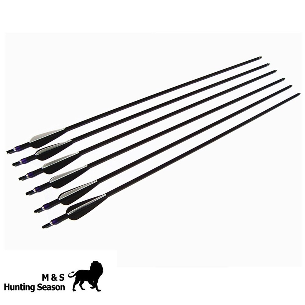 Top Quality  Carbon Fiber Archery Arrow For Bow TPU Feather Shooting Arrow 28/29/30 Inch Arrow SPINE 340/400/500/600 6 Pcs