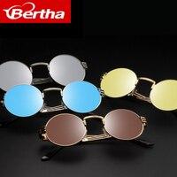 2017Bertha Round Sunglasses Steampunk Metal Spring Frame Mirror Lens 6384