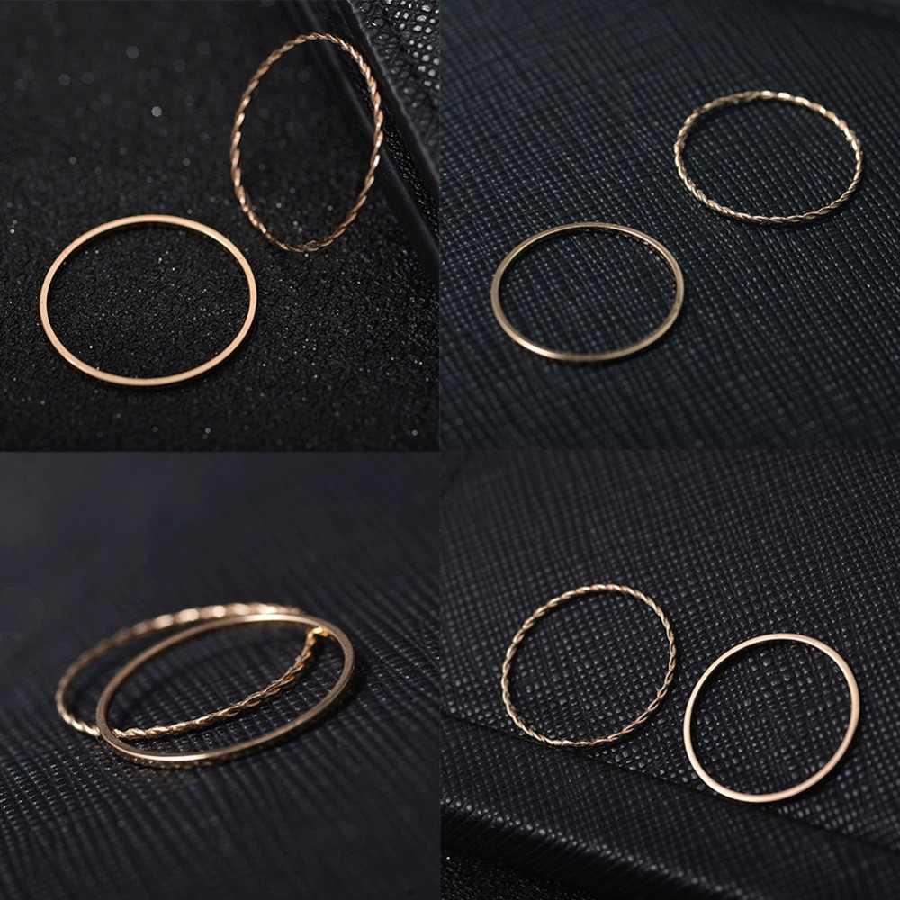 บาง Rose Gold ซ้อนแหวน Knuckle แหวนขนาดเล็ก Finger MIDI Finger แหวนออกแบบแหวนแฟชั่นเครื่องประดับสำหรับผู้หญิง