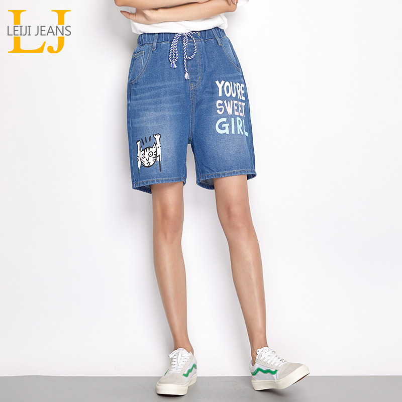 LEIJIJEANS 2019 Summer Plus Size L-6XL Letter Figure Print Bleach Elastic Waist High Street Loose Harem Denim Women   Shorts   6910