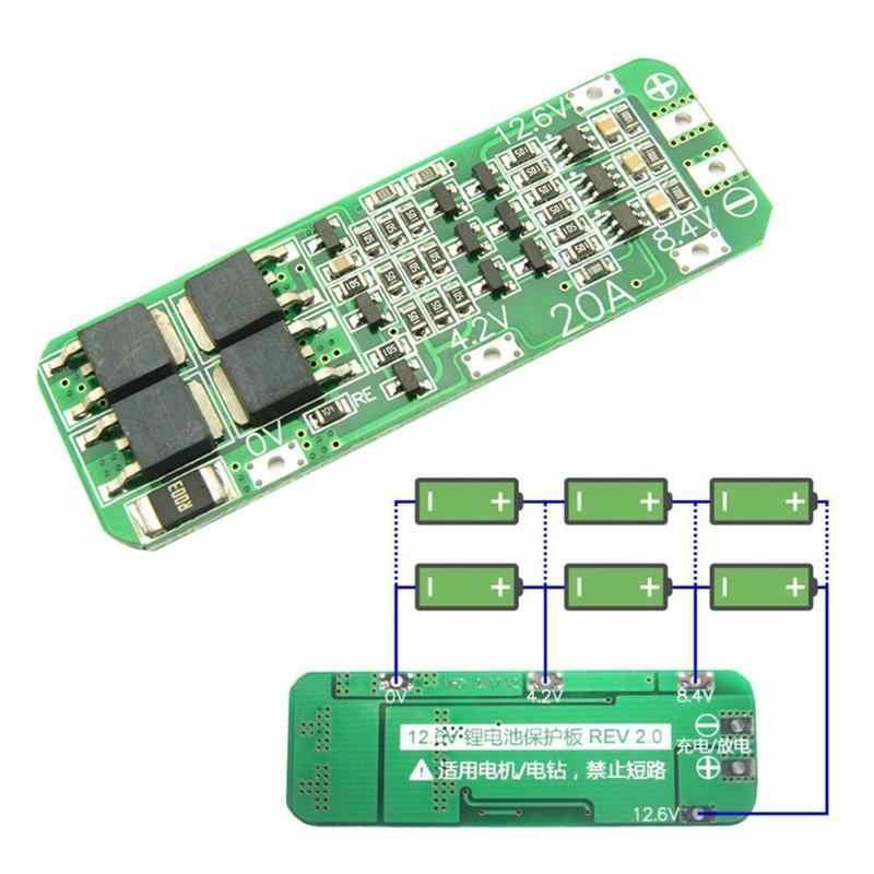 3S 20A batería de litio Li-ion 18650 cargador Placa de protección BMS PCB para Motor de perforación 12,6 V Módulo de célula Lipo 64x20x3,4mm