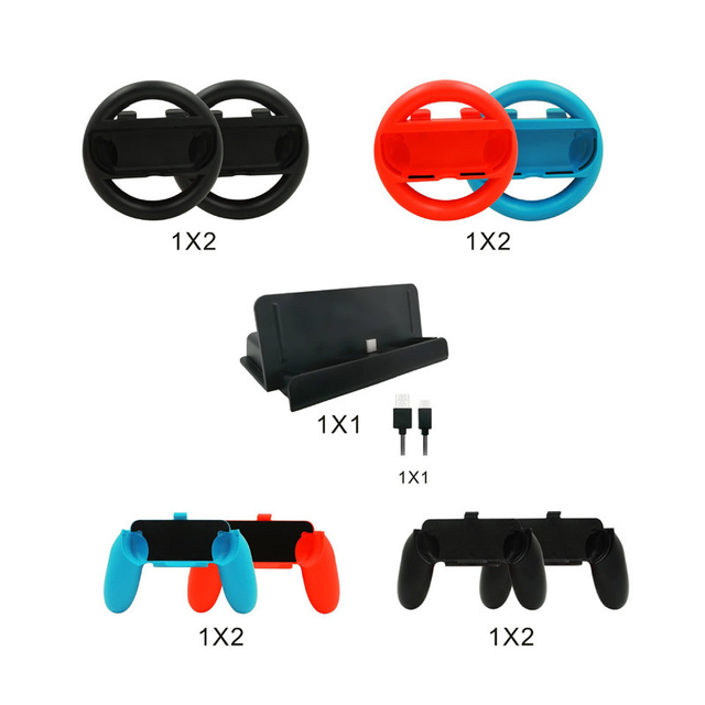 Nintend Switch 10 in 1 Accessories Kit with 4 Steer Wheels 4 Joy-con Handle Grips + 1 Console USB Charger for Nintendo Switch 1