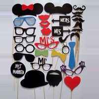 Free Shipping Set Of 31pcs A Stick Wedding Party Decorations Photo Booth Props Hat Mustache Bow