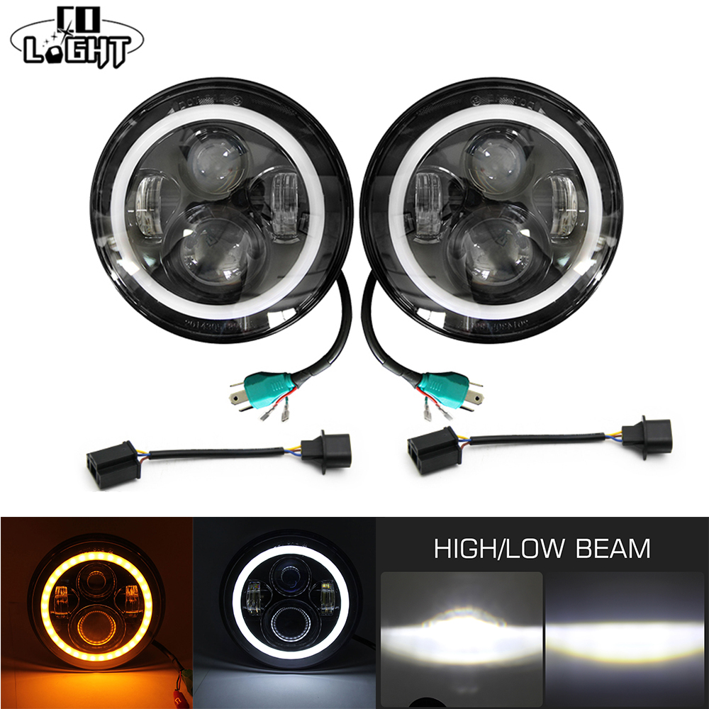 CO LIGHT 7'' Round Led Driving Light H4 Headlight Kit 50W Hi Lo Beam 30W Cree Chip 6000K for Drl 4X4 4WD Offroad Jeep Jk TJ LADA