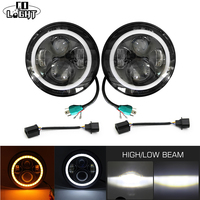 CO LIGHT 7 ROUND LED DOME LIGHT H4 HEADLIGHT KIT 50W HI LO BEAM 30W CREE