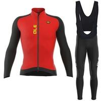 2017 männer ALE Radtrikot Set Long Sleeve Trocknen Schnell Breathable Pro Cycing Racing Jersey und Bike Hose Set Rot Radfahren Set