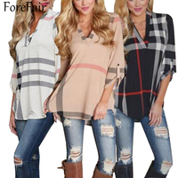 ForeFair 2016 Early Autumn 3 4 Sleeve Plaid Women Blouses Sexy V Neck Curved Hem Long