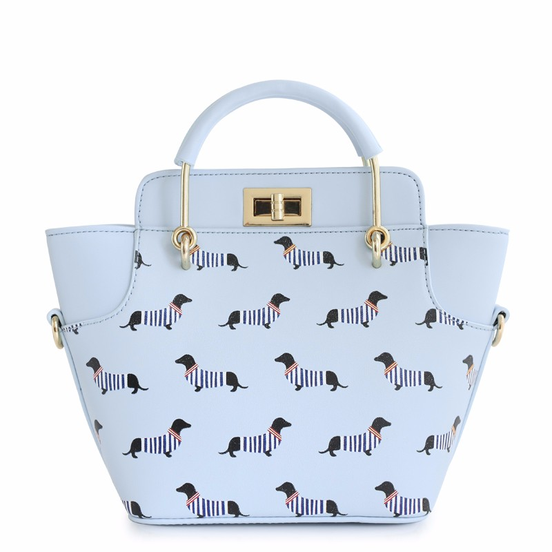 2016 Hot Sale Duck Animal Printing Small High Quality Mori Trapeze Lady Faux Candy Color Leather PU For Women\'s Lock Handbags Totes Crossbody Bags