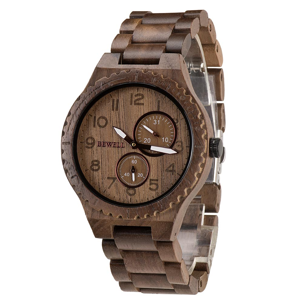 BEWELL ZS-W154A Quartz bois montre hommes montres Top marque luxe Date lumineuse Vintage hommes chronomètre minuteur analogique montre-bracelet