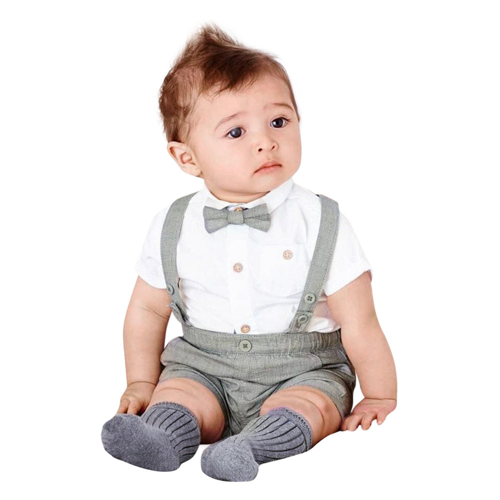 Baby Boys Summer Outfit Gentleman Bowtie Stripe Short Sleeve Shirt+Suspenders Shorts Set