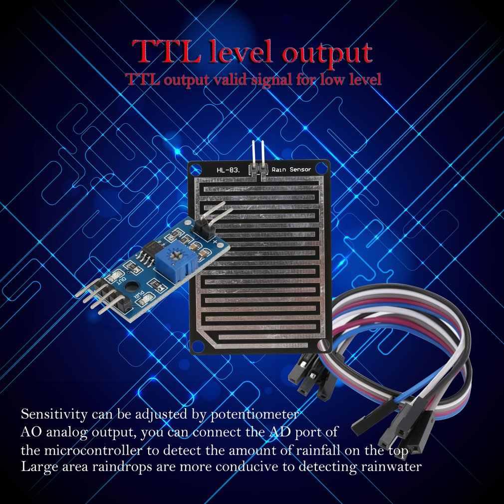 5 V LED Sensor Hujan Hujan Deteksi Air Kelembaban Kelembaban Modul Kit UNTUK ARDUINO Detektor Cuaca Monitor dengan Kabel
