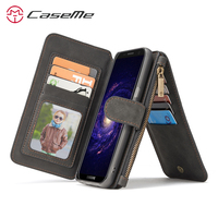 For Samsung Galaxy S8 Case Luxury Genuine Leather Flip Zipper Magnetic Pouch Wallet Case Cover For