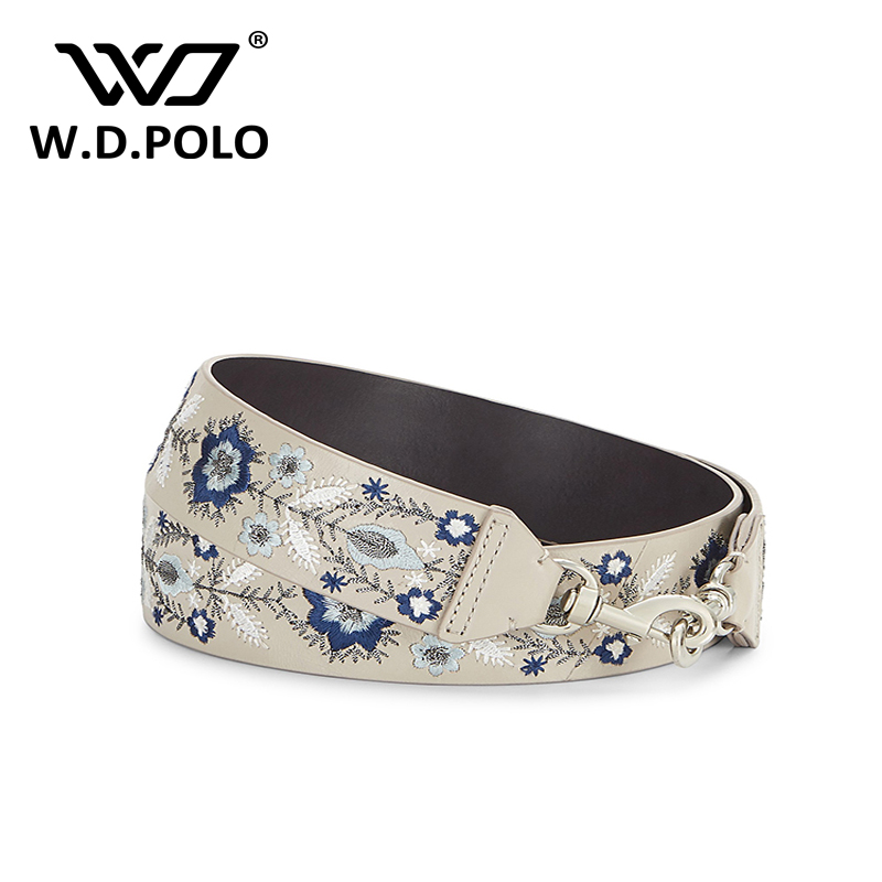 WDPOLO new embroidery strap for the bags cool rivet handbags strap fashionable flower bags accessories easy matching bags belts