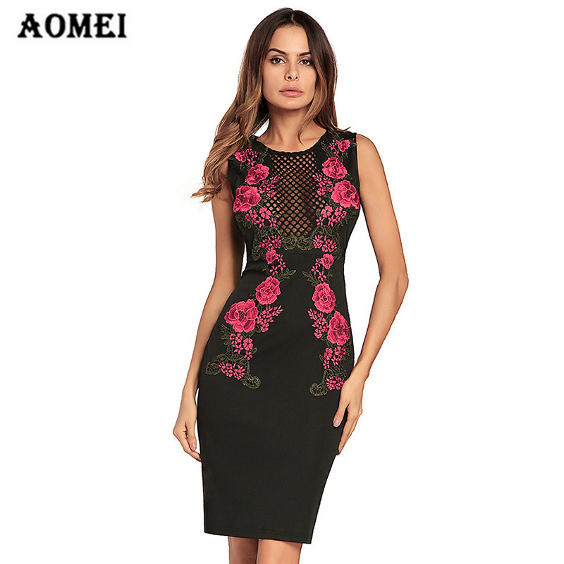 Women Dress Embroidery Hollow Out Fashion Slimming Ladies Package Hip  Dresses Bodycon O Neck Pencil Robes Floral Summer Fashion 514114edb980