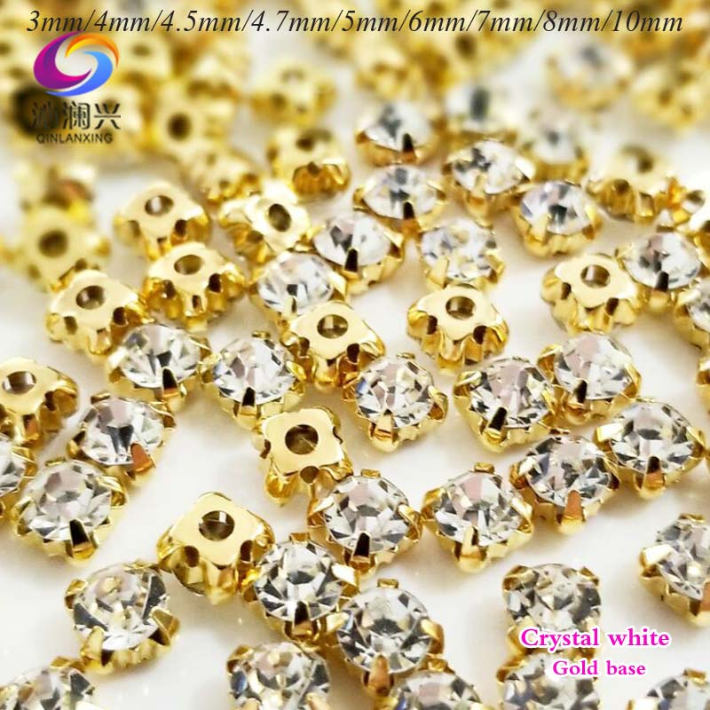 Free shipping Super flash clear white top Crystal glass sew on stones,gold bottom loose rhinestone diy/jewelry accessories