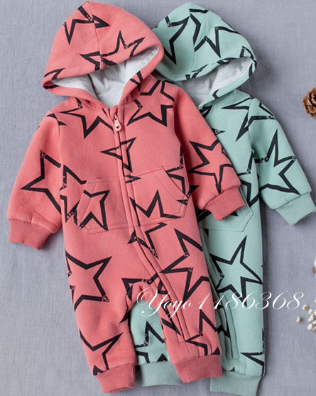 eab302d7dbac Baby Rompers Winter Thick Climbing Clothes Newborn Boys Girls Warm Romper  cotton star printed Hooded Outwear jumpsuit -in Rompers from Mother   Kids  on ...