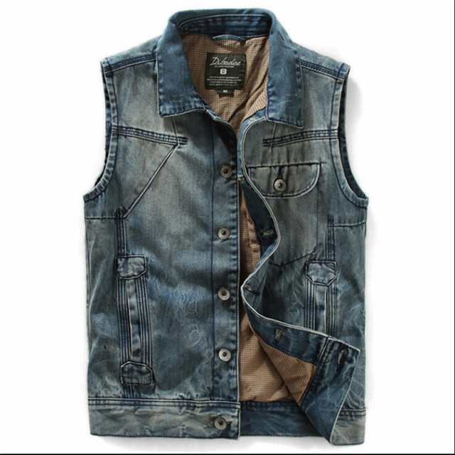 High Quality! 2015 Spring Summer Slim Men'S Clothing Jeans Vest Male Denim Vest Blue Waistcoat Plus Size M-2Xl