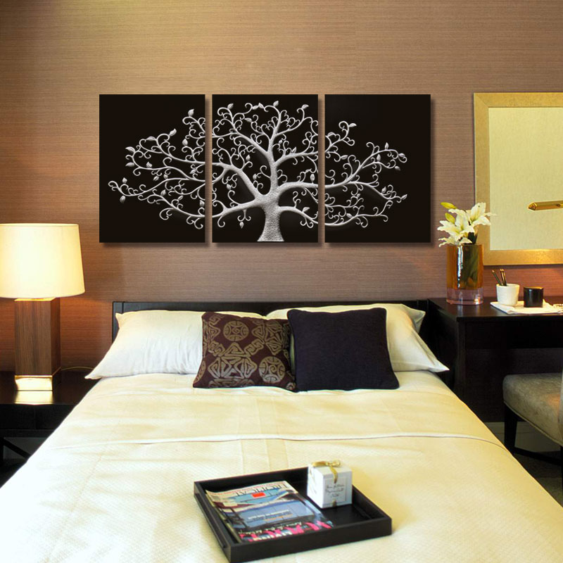 3 piece metal wall art bathroom wall piece wall abstract metal art tree canvas print landscape paintings panels wall pictures for living room no framein painting calligraphy
