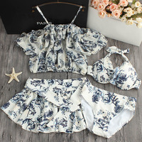 2018 Limited Hot Spring Small Fresh Chest Floral Chiffon Blouse Gather Steel Support Skirt Bikinis Four